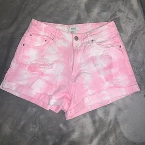 Forever 21 High waisted pink tye dye shorts
